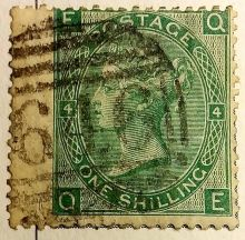 1867 One Shilling Green Plate 4 Large White Corner Letters QE.jpg