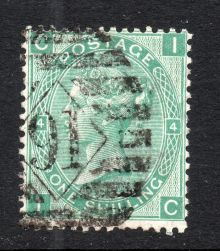 1867 One Shilling Green Plate 4 Large White Corner Letters IC.jpg