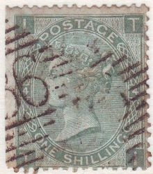 1867 One Shilling Green Plate 4 Large White Corner Letters TI.jpg