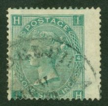 1867 One Shilling Green Plate 4 Large White Corner Letters IH.jpg
