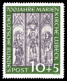 Germany-West 1951 The 700th Anniversary of St. Mary's Church, Lübeck 10+5.jpg