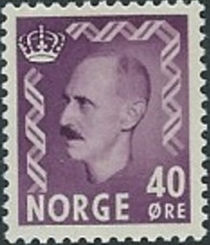 Norway 1955 - 1956 Definitives - King Haakon VII 40ø.jpg