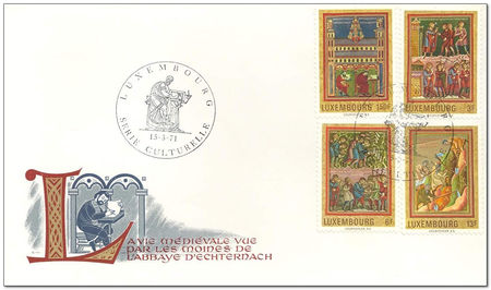Luxembourg 1971 Echternach Abbey Medieval Miniatures fdc.jpg