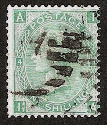 1867 One Shilling Green Plate 4 Large White Corner Letters IA.jpg