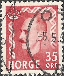 Norway 1955 - 1956 Definitives - King Haakon VII 35ø.jpg