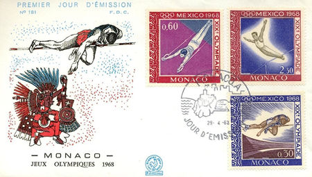 Monaco 1968 Summer Olympic Games - Mexico City 1fdc.jpg
