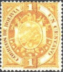 Bolivia 1894 Definitives Coat of arms 1c.jpg