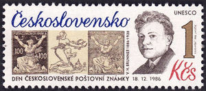 Czechoslovakia 1986 Stamp Day - Birth Centenary of V.H. Brunner 1Kr.jpg