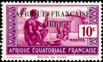 French Equatorial Africa 1940 Definitives - People of Chad Region 10c.jpg