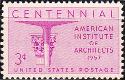 United States of America 1957 The 100th Anniversary of the American Institute of Architects 3¢.jpg