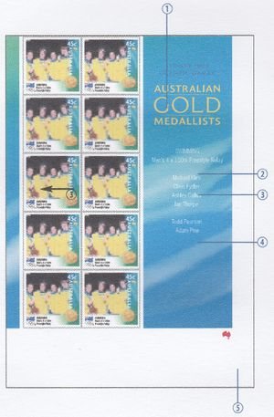 Australia 2000 Sydney 2000 Olympic Games Australian Gold Medallists sheet design.jpg