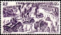 French Indian Settlements 1946 Airmail - From Chad to the Rhine 15f.jpg