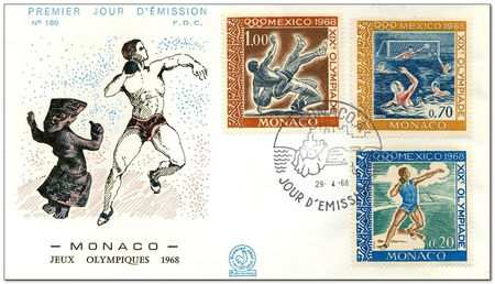 Monaco 1968 Summer Olympic Games - Mexico City fdc.jpg