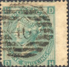 1867 One Shilling Green Plate 4 Large White Corner Letters DH.jpg