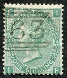 1867 One Shilling Green Plate 4 Large White Corner Letters IF.jpg