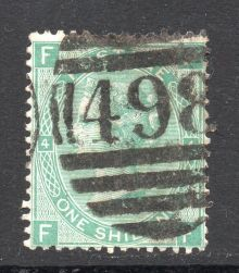 1867 One Shilling Green Plate 4 Large White Corner Letters FF.jpg