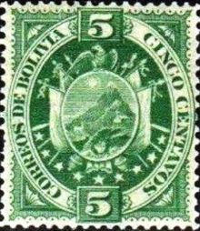 Bolivia 1894 Definitives Coat of arms 5c.jpg