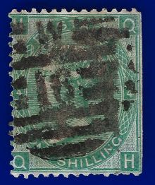 1867 One Shilling Green Plate 4 Large White Corner Letters QH.jpg