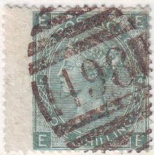 1867 One Shilling Green Plate 4 Large White Corner Letters EE.jpg