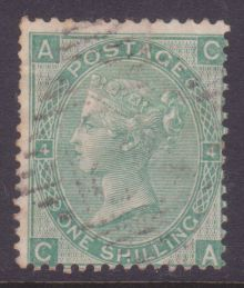 1867 One Shilling Green Plate 4 Large White Corner Letters CA.jpg